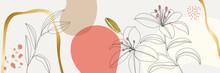 Minimal Pink Tropical Floral Design With Golden Line Decorative Vector Elegant Rustic Template