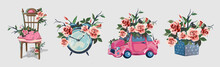 Set With Various Household Items Decorated With Flowers. Cute Little Romantic Pictures With Flowers. Alarm Clock, Beautiful Fishnet Chair, Gift Box, Little Ping Gift Car. Beautiful Pink Roses.Isolated