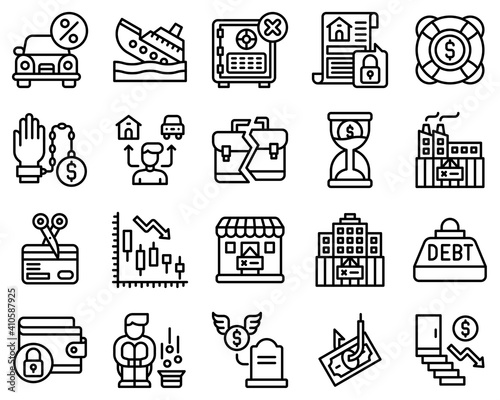 Bankruptcy related vector icon set 4, line style Fototapet