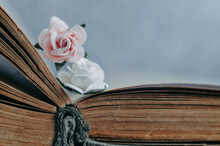 Old Paper Book With Paper Flowers