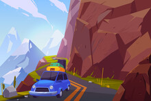 Traveling On Car Cartoon Vector Background