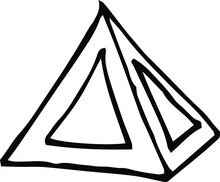 Simple Doodle Of A Pyramid Icon. Hand Drawn Vector Art. Black White Illustration.