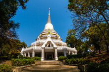 The White Pagoda Of Wat Phra Phut Tha Bat,temple And Pagoda  In Mahashanachai Town, Yasothon  Province,Thailand,ASIA.