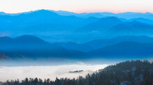 Beautiful Landscape With Cascade Blue Mountains At The Morning - View Of Wilderness Mountains During Foggy Weather