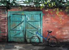 Bike On The Background Of A Garage Vintage Oil Painting Summer Village