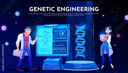 Canvas Print scientists in white robes study dna on screen