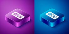 Isometric QR Code Ticket Train Icon Isolated On Blue And Purple Background. Square Button. Vector.