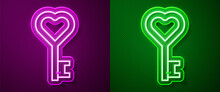 Glowing Neon Line Key In Heart Shape Icon Isolated On Purple And Green Background. Valentines Day Symbol. Vector.