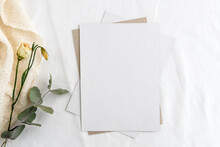 Fashionable Stock Stationery Background - A White Card For Writing And Twigs Of Dry Plants On A White Table. Wedding Feminine Background.