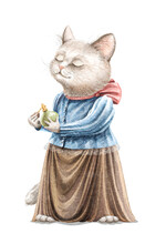 Watercolor Vintage Girl Grey Cat In Dress Holding Bottle Of Perfume And Sniffs .isolated On White Background. Watercolor Hand Drawn Illustration Sketch