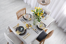 Beautiful Easter Table Setting With Festive Decor Indoors, Above View