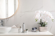 Beautiful Flowers, Burning Candles And Different Toiletries On Countertop In Bathroom