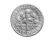 One Dime Coin Isolated On White Background