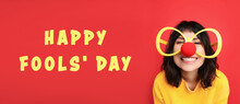 Funny Woman With Large Glasses And Clown Nose On Red Background, Banner Design. Happy Fool's Day