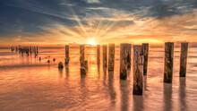 Coastal Dream Beach With An Old Pier Near Naples, Florida, America