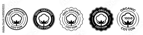 Cotton organic 100 icons, cotton flower logo for natural eco and bio vector stamps on textile fabrics and skincare cosmetics certificate - fototapety na wymiar