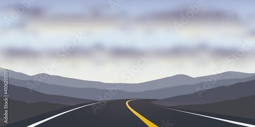 asphalt road in the desert travel landscape vector illustration EPS10