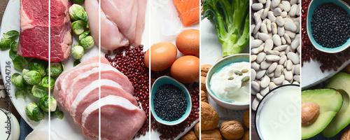 Obraz na płótnie Collage of best high protein foods