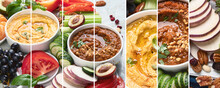 Collage Of Healthy Vegan Snacks And Dips. Party Food With Copy Space. Clean Diet Eating, Veggie Serving Table