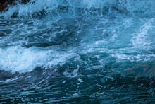 Beautiful, Blue Sea With Big, High Waves, Foam In A Storm In The Evening