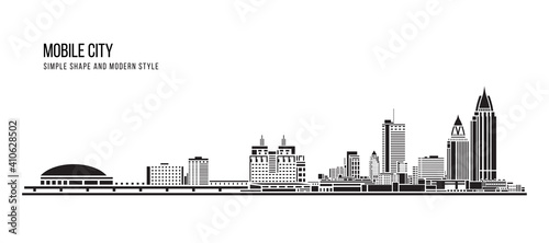 Cityscape Building Abstract Simple shape and modern style art Vector design - Mobile city