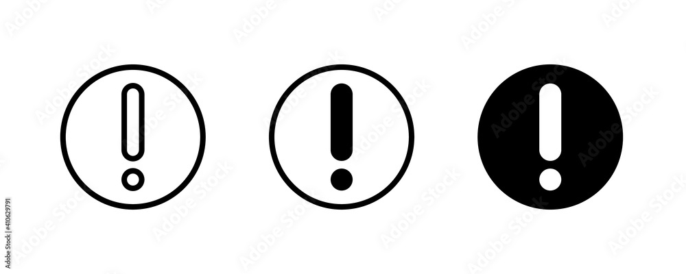 Fototapeta Attention icon. Hazard Exclamation mark, Risk, Warning, Danger icons button, vector, sign, symbol, logo, illustration, editable stroke, flat design style isolated on white linear pictogram