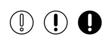 Attention Icon. Hazard Exclamation Mark, Risk, Warning, Danger Icons Button, Vector, Sign, Symbol, Logo, Illustration, Editable Stroke, Flat Design Style Isolated On White Linear Pictogram