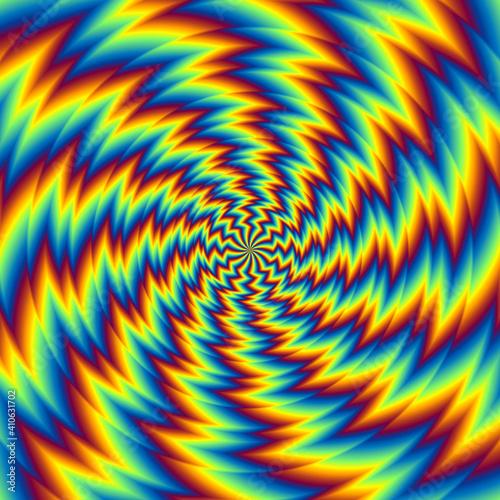 Pulsing fiery spirals. Spin illusion. Fototapeta