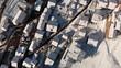 Aerial drone shot of winter village Chatel, Portes du Soleil. Upwards rotation