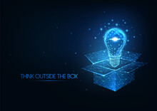 Futuristic Thinking Outside The Box Concept With Glowing Low Polygonal Light Bulb Over Opened Box