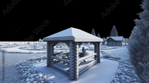 black and white illustration of a gazebo for recreation in a country house for a Fototapet