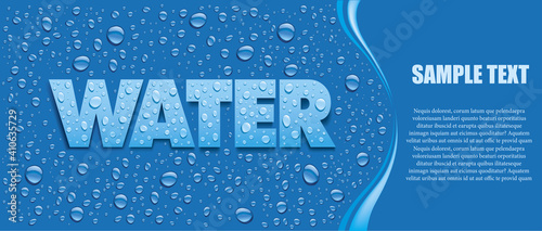 blue background with many fresh water drops and place for text © volod2943
