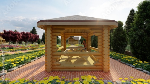Fototapeta color photorealistic illustration of a gazebo for relaxing in a country house