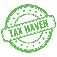 TAX HAVEN Text On Green Grungy Round Rubber Stamp.