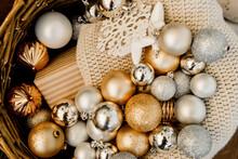 Christmas Balls In A Wicker Basket