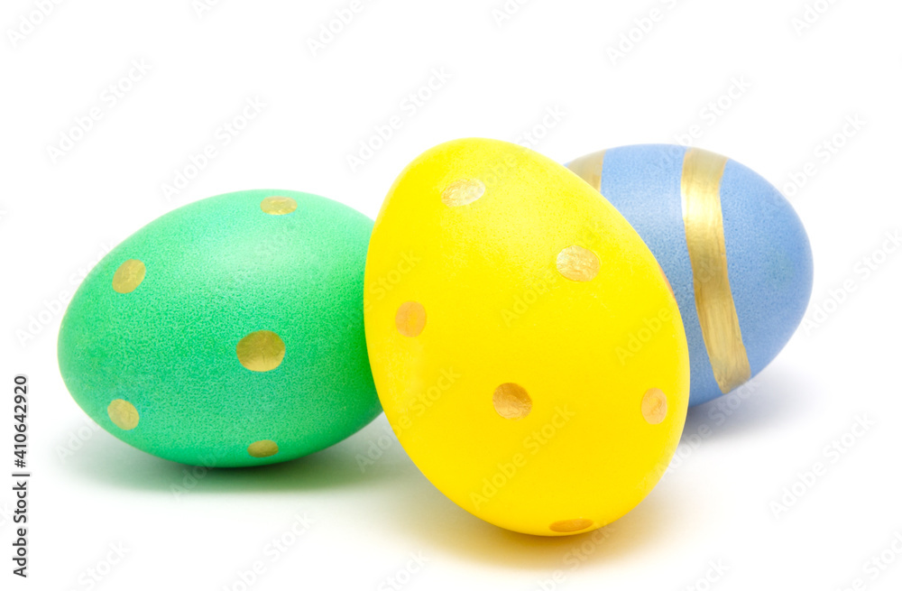 Fototapeta Colorful perfect handmade painted easter eggs isolated on a white background