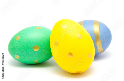 Obraz Colorful perfect handmade painted easter eggs isolated on a white background - fototapety do salonu