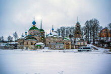 Paraskeva Pyatnitsa Church, Alexander Nevsky Chapel, Boris And Gleb Cathedral And The Church Of The Savior Image Not Made By Hands Under The Bell Tower. The Old Woman. Russia