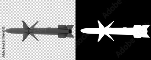Stampa su Tela Missile isolated on  background with mask