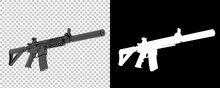 Machine Gun With Right Side View, Isolated On Background With Mask. 3d Rendering - Illustration