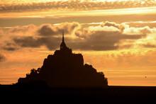 Le Mont Saint-Michel Tidal Island Normandy Northern France, Mont Saint Michel Background At Sunset
