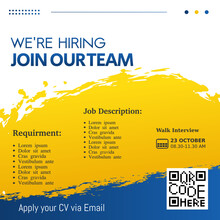 Job Recruitment Design For Companies. Square Social Media Post Layout. We Are Hiring Banner, Poster, Background Template