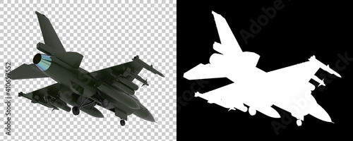 Fotografie, Tablou Jet fighter isolated on background with mask