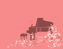 Concert Grand Piano And Empty Pianist Bench Among Blooming Sakura Tree Branches - Classical Musical Instrument Ready For Spring Season Outdoor Performance Vector Copy Space Background