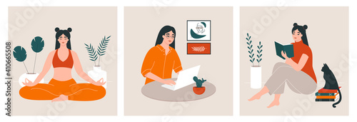 Self development concept. Young woman performing activities for personal growth: reading books, meditating, working. Home routine, everyday life, daily tasks of a girl. Set of vector illustrations