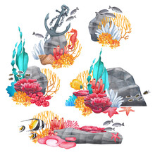 Watercolor Coral Reefs With Various Plants And Ocean Creatures.