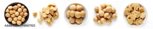 Fotografie, Obraz Pickled mushrooms isolated on white, from above