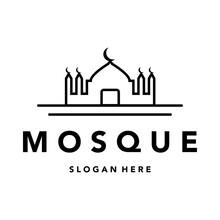 Mosque Islam Line Art Logo Minimalist Illustration Design