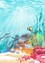Underwater Scene With Hand Painted Watercolor Coral Reef