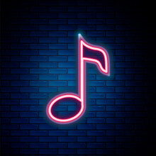 Glowing Neon Line Music Note, Tone Icon Isolated On Brick Wall Background. Colorful Outline Concept. Vector.